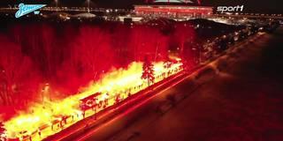 Irre Pyro-Show für Zenit-Spieler