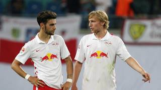 Massimo Bruno und Emil Forsberg im Trikot von RB Leipzig RB Leipzig v Greuther Fuerth  - 2. Bundesliga