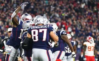 Die New England Patriots feiern den Sieg über die Kansas City Chiefs