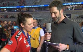 Nach dem Pokalsieg analysiert Katharina Schwabe bei Sport1 das Spiel