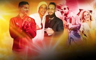 Popstar Maluma (M.) pflegt Freundschaften mit Fußball-Stars wie James Rodriguez (l.) und Ronaldinho (2.v.l.)