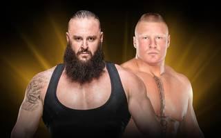 Braun Strowman (l.) und Brock Lesnar kämpfen bei WWE Crown Jewel um den vakanten WWE Universal Title