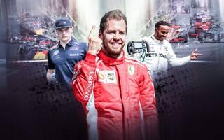 Formel 1 2018 mit Max Verstappen, Sebastian Vettel und Lewis Hamilton