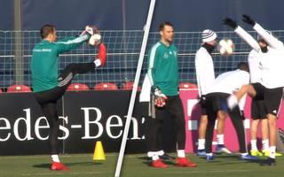Seltsamer Trick: Leon Goretzka und Manuel Neuer albern beim DFB-Training herum