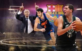 Álex Abrines (M.) und Nikola Mirotic (r.) spielen jetzt unter Svetislav Pesic (l.) beim FC Barcelona