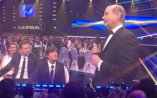 Bill Murray (r.) veralbert Bundestrainer Joachim Löw