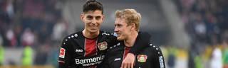 Julian Brandt (r.) wechselt zum BVB - Kai Havertz (l.) bleibt dagegen wohl in Leverkusen