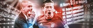 Robert Lewandowski vom FC Bayern gelangen 2015 gegen Wolfsburg binnen neun Minuten fünf Tore
