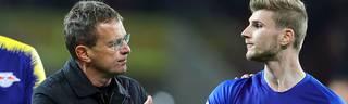Ralf Rangnick (l.) und Timo Werner schafften mit RB Leipzig den Einzug ins Pokalfinale