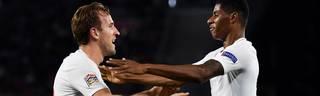 Marcus Rashford und Harry Kane bejubeln den Sieg von England gegen Spanien