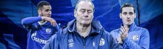 Schalkes Trainer Huub Stevens (M.) beschäftigen unter anderem Nabl Bentaleb (l.) und Sebastian Rudy