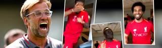 Jürgen Klopp filmt Spieler vom FC Liverpool mit Handy auf dem Laufband