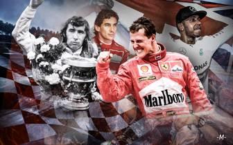 Größte Formel 1 Fahrer der Geschichte mit Jackie Stewart, Michael Schumacher, Lewis Hamilton, Sebastian Vettel