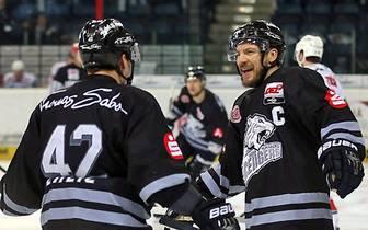 Die Nürnberg Ice Tigers um Patrick Reimer (r.) gewannen bei den Schwenniger Wild Wings