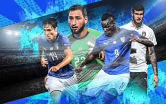 Italien setzt beim Neustart auf Talente wie Gianluigi Donnarumma (2.v.l.)
