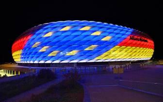 Die Allianz Arena schon im EM-Look: Auch in München soll 2024 gespielt werden