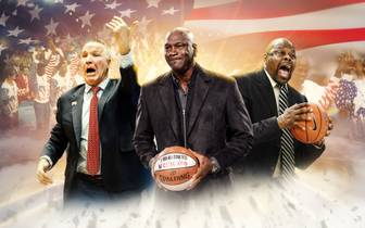 Chris Mullin, Michael Jordan und Patrick Ewing (v.l.) gewannen 1992 Olympia-Gold mit dem Dream Team