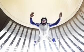 German Ski Jumper At Bodyflying Training