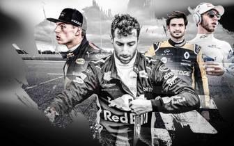 Carlos Sainz (2.v.r.) und Pierre Gasly (r.) könnten Daniel Ricciardo (M.) ersetzen