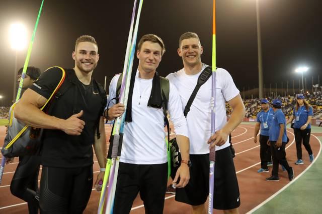 Johannes Vetter, Thomas Röhler und Andreas Hofmann (v.l.) greifen nach den EM-Medaillen im Speerwurf