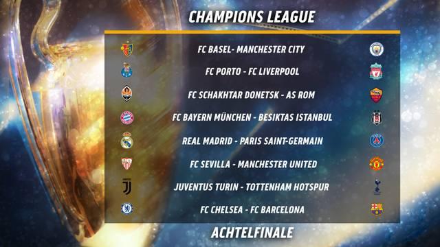 Das sind die Paarungen des Achtelfinals der Champions League