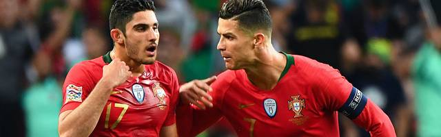 Goncalo Guedes (l., mit Cristiano Ronaldo) schoss Portugal zum Titel in der Nations League