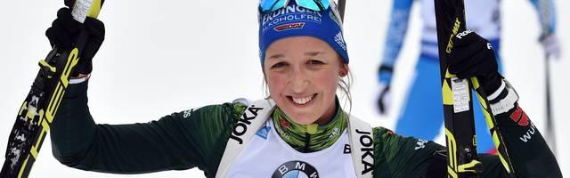 Franziska Preuß gewann den Biathlon-Massenstart in Ruhpolding