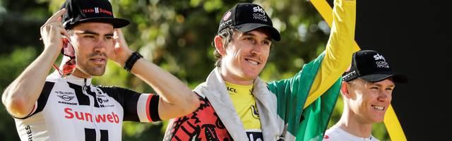 Tour de France 2019: Strecken und Etappen vorgestellt  , Der Brite Geraint Thomas (mitte) gewann 2018 die Tour de France