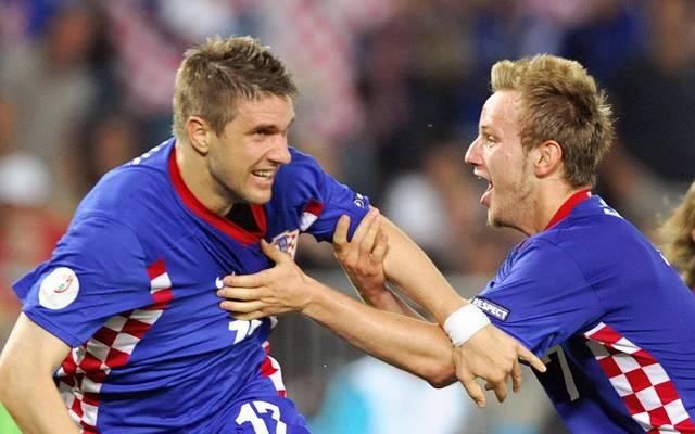 Ivan Klasnic (l.) spielte noch mit Ivan Rakitic zusammen für Kroatien