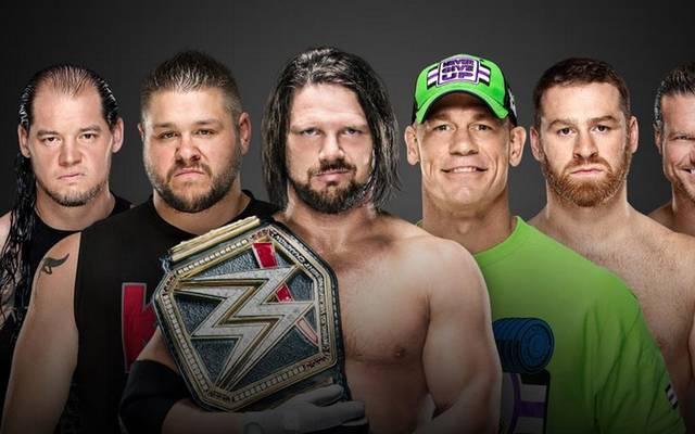 AJ Styles (3. v.l.) verteidigt bei WWE Fastlane seinen Gürtel gegen fünf Konkurrenten