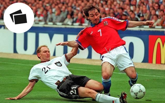 Dieter Eilts (u.) glänzte beim deutschen EM-Titel 1996 als unermüdlicher Kämpfer