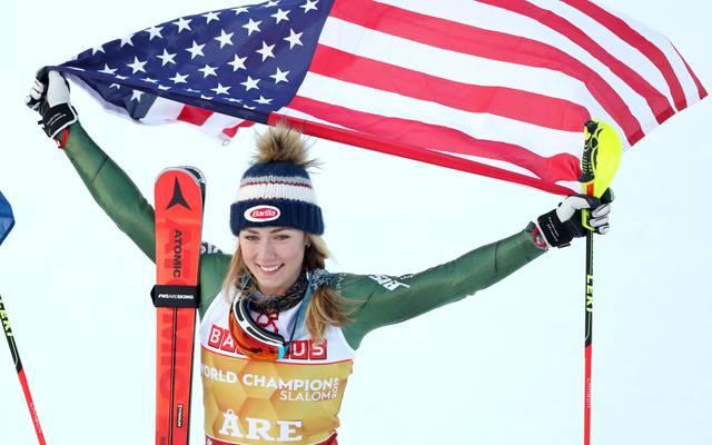 Mikaela Shiffrin sichert sich im Slalom der Ski-WM die Goldmedaille