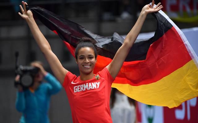 Die deutsche Hochspringerin Marie-Laurence Jungfleisch gewann im Finale von Berlin Bronze