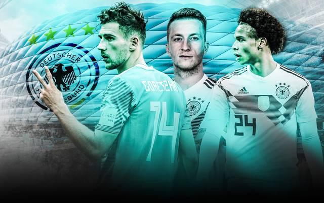Leon Goretzka (l.), Marco Reus (M.), Leroy Sane (r.) - wer ist in Topform für den Kracher gegen Frankreich?