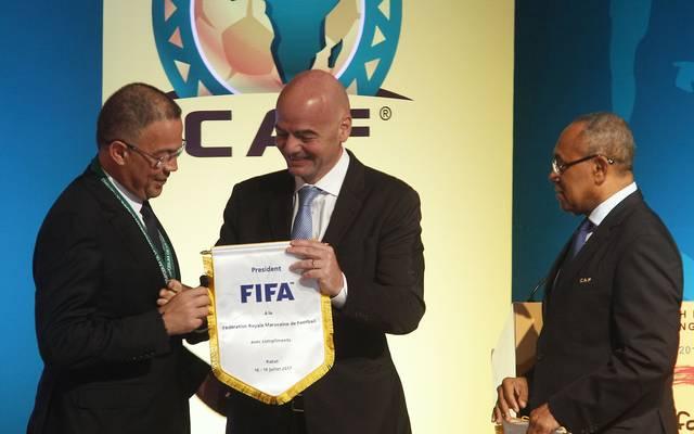 Marokkos Verbandspräsident Fouzi Lekjaa (l.) mit FIFA-Boss Gianni Infantino