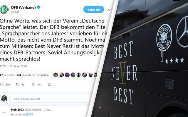 """Der DFB zeigte sich erbost über die """"Auszeichnung"""" für den deutschen WM-Slogan """"Best Never Rest"""""""