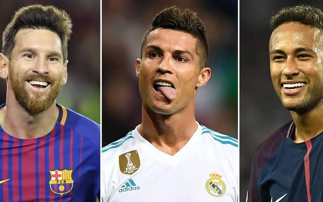 Lionel Messi, Cristiano Ronaldo und Neymar (v.l.) gehören zu den besten Fußballern der Welt