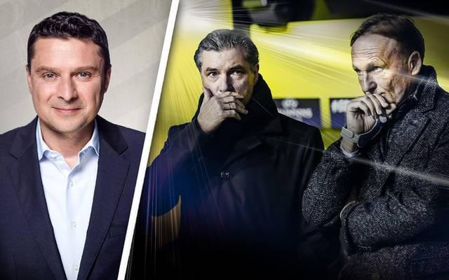 Michael Zorc (M.) und Hans-Joachim Watzke (r.) holten Peter Stöger zum BVB