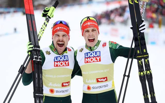 Fabian Rießle (l.) und Eric Frenzel durften sich über die Goldmedaille freuen