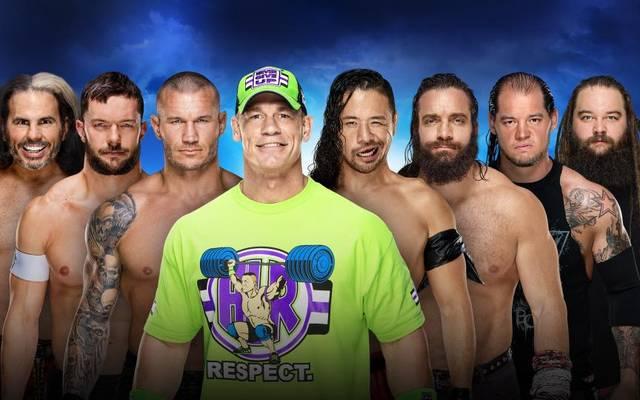 John Cena (4.v.l.) und viele weitere Stars treten beim WWE Royal Rumble 2018 an