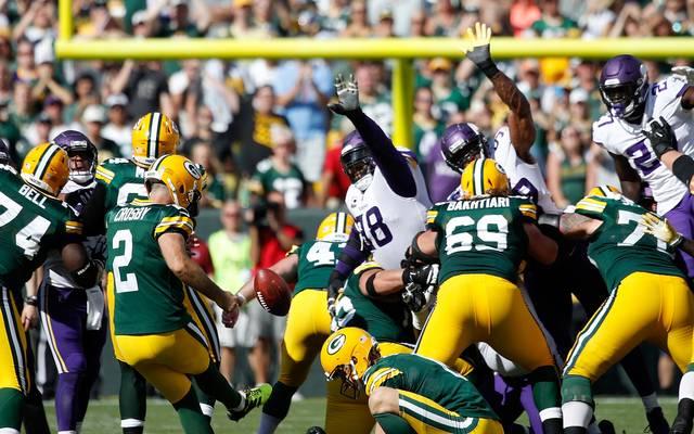 Mason Crosby erzielte fünf Field Goals für die Packers gegen die Vikings