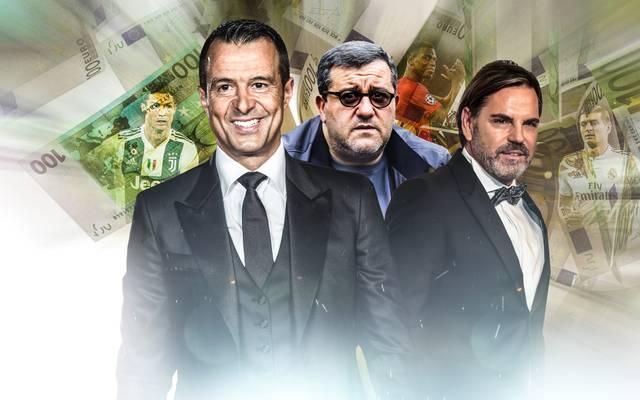 Jorge Mendes, Mino Raiola und Volker Struth (v.l.) gehören zu den mächtigsten Berater des Sports