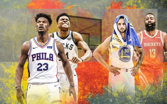 Golden State und Houston (r.) gehören zu den Enttäuschungen der Saison, Philly mit Jimmy Butler (l.) und die Bucks greifen an