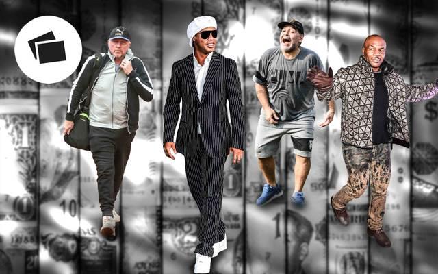 Boris Becker, Ronaldinho, Diego Maradona und Mike Tyson (v.l.) sind nur ein paar Beispiele für Sportstars, die in finanziellen Nöten steckten