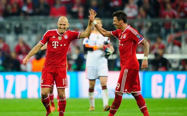 Arjen Robben (l.) und Mario Mandzukic gewannen mit den Bayern 2013 die Champions League