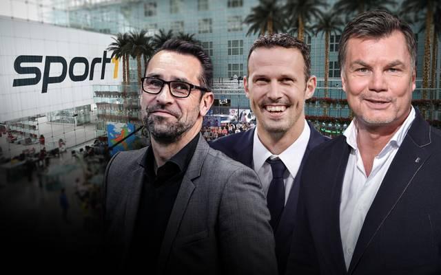 Michael Preetz (l.) und Marco Streller (M.) sind am Sonntag zu Gast im CHECK24 Doppelpass