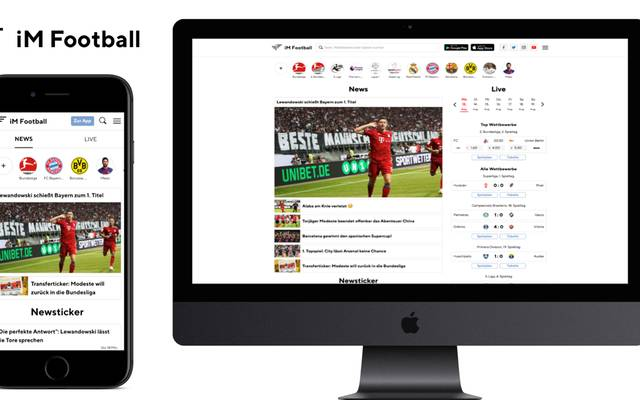 Die Inhalt von iM Football sind ab sofort neben der App auch auf einer neuen Webseite zu finden
