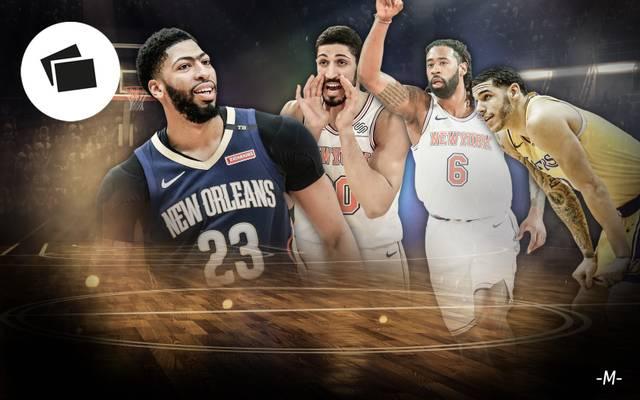 Anthony Davis, Enes Kanter, DeAndre Jordan und Lonzo Ball (v.l.) werden auf dem NBA-Transfermarkt heiß gehandelt