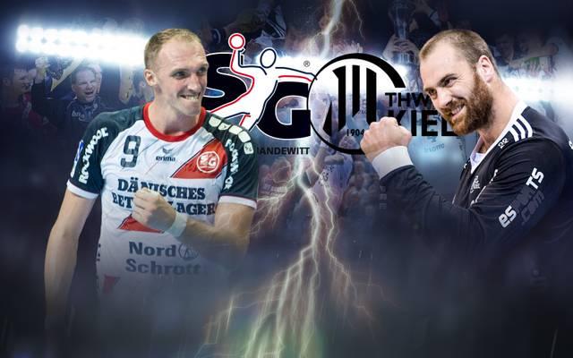 Holger Glandorf (Flensburg, l.) und Andreas Wolff (Kiel, r.) hoffen auf den Sieg im HBL-Derby