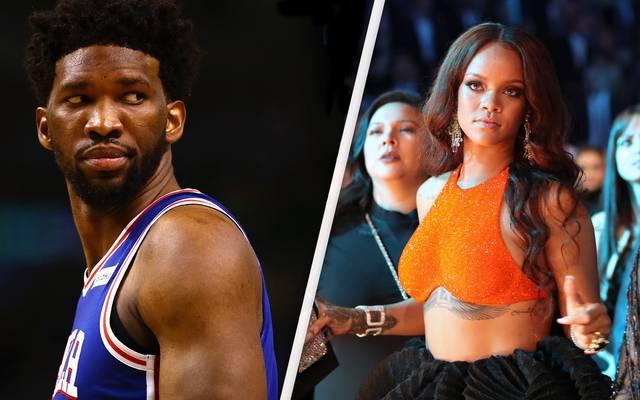 Joel Embiid (l.) servierte nach dem Sieg gegen die Boston Celtics Rihanna ab